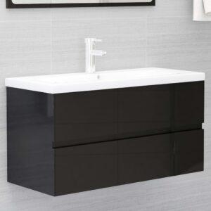 Armário lavatório + lavatório embutido contrap. preto brilhante - PORTES GRÁTIS