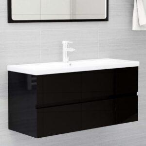 Armário lavatório + lavatório embutido contra. preto brilhante - PORTES GRÁTIS