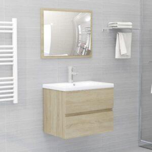 Conjunto móveis de casa de banho contraplacado carvalho sonoma - PORTES GRÁTIS