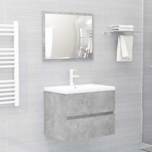 Conjunto de móveis de casa de banho contraplacado cinza cimento - PORTES GRÁTIS