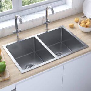Lava-louça de cozinha artesanal aço inoxidável - PORTES GRÁTIS