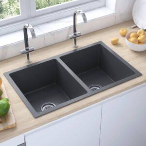 Lava-louça de cozinha artesanal aço inoxidável preto - PORTES GRÁTIS