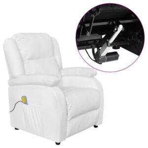 Poltrona de massagens elétrica couro artificial branco - PORTES GRÁTIS