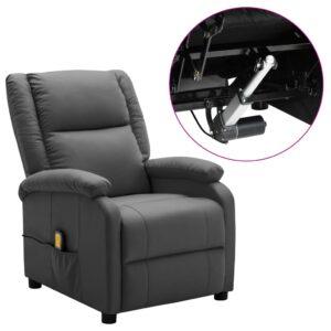 Poltrona massagens reclinável elétrica couro art. antracite - PORTES GRÁTIS