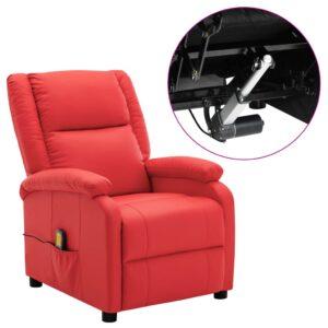Poltrona de massagens reclinável elétrica couro art. vermelho - PORTES GRÁTIS