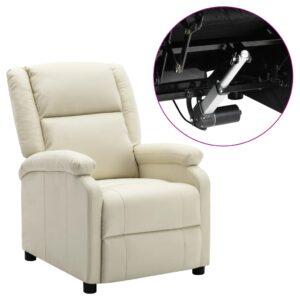 Poltrona reclinável elétrica couro artificial branco - PORTES GRÁTIS
