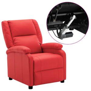 Poltrona reclinável elétrica couro artificial vermelho - PORTES GRÁTIS