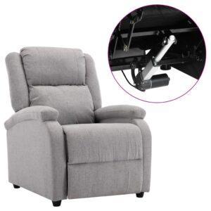 Poltrona de TV elétrica reclinável tecido cinzento-claro - PORTES GRÁTIS