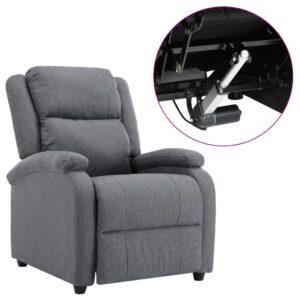 Poltrona de TV elétrica reclinável tecido cinzento-escuro - PORTES GRÁTIS