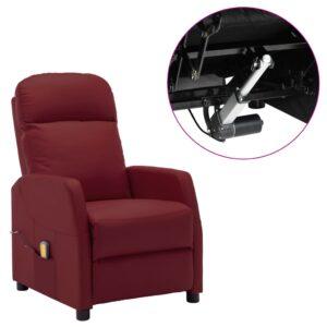 Poltrona massagens reclinável elétr. couro art. vermelho tinto - PORTES GRÁTIS