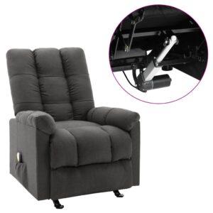 Poltrona massagens elétrica reclinável tecido cinzento-escuro - PORTES GRÁTIS
