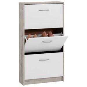 FMD Sapateira com 3 compartimentos inclináveis branco e carvalho - PORTES GRÁTIS
