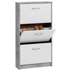 FMD Sapateira c/ 3 compartimentos inclináveis branco/cinzento cimento - PORTES GRÁTIS