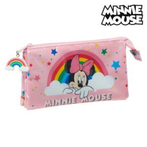 Estojo Minnie Mouse Rainbow Cor de Rosa