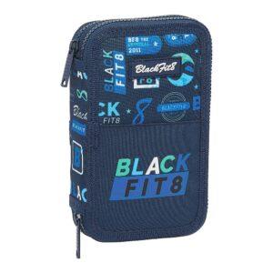 Estojo Triplo BlackFit8 Retro Azul Marinho (28 pcs)
