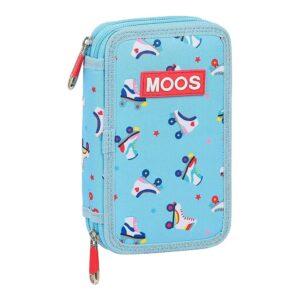 Estojo Triplo Moos Rollers Multicolor Azul Claro (28 pcs)