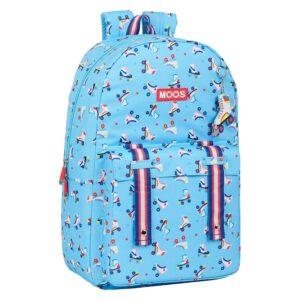 Mochila Escolar Rollers Moos Multicolor Azul Claro