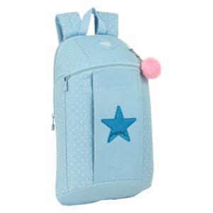 Mochila Casual Star Glow Lab Azul Claro