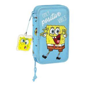 Estojo Triplo Spongebob Positive Vibes Amarelo Azul Claro (28 pcs)