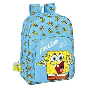 Mochila Escolar Spongebob Positive Vibes Amarelo Azul Claro