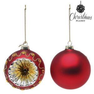 Bolas de Natal 1662 8 cm (2 uds) Cristal Vermelho