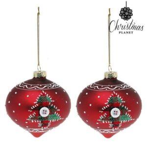 Bolas de Natal 1792 8 cm (2 uds) Cristal Vermelho