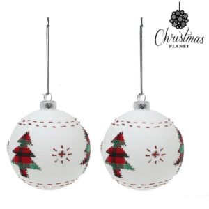 Bolas de Natal 1860 8 cm (2 uds) Cristal Branco
