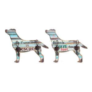 2 Bengaleiros DKD Home Decor Ferro Madeira MDF Cão (31 x 5 x 24 cm)