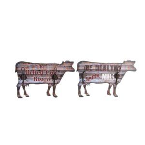 4 Bengaleiros DKD Home Decor Ferro Vaca Madeira MDF  (36 x 5 x 23 cm)
