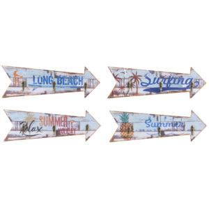 4 Bengaleiros DKD Home Decor Madeira Metal Praia  (30 x 3 x 10 cm)