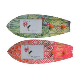 2 Bengaleiros DKD Home Decor Vermelho Verde Madeira Surf (40 x 15 x 7 cm)