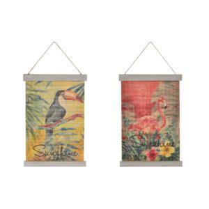 Decoração Suspensa DKD Home Decor Natal Amarelo Vermelho Madeira Bambu (2 pcs) (27 x 1.5 x 39 cm)