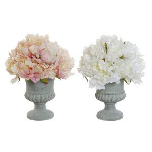 Planta Decorativa DKD Home Decor Branco Cor de Rosa Metal Papel Plástico Tecido (25 x 25 x 30 cm) (2 pcs)