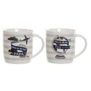 2 Canecas DKD Home Decor Porcelana (360 ml)