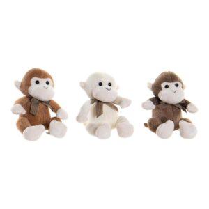 3 Peluches DKD Home Decor Castanho Bege Poliéster Plástico Macaco (10 x 10 x 15 cm)