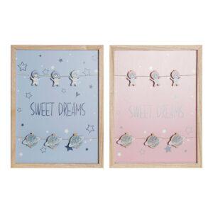 Quadro Portafotos com Molas DKD Home Decor Sweet Dreams Madeira MDF (40 x 40 x 3 cm) (2 pcs)