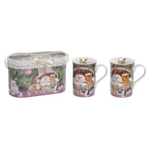2 CanecaS DKD Home Decor Porcelana Cartão (330 ml)
