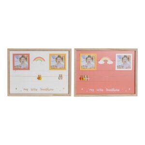 Quadro Portafotos com Molas DKD Home Decor Madeira MDF Arco-íris (2 pcs) (42 x 2 x 32 cm)