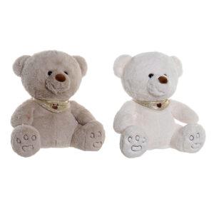 2 Peluche DKD Home Decor Branco Bege Poliéster Urso (32 x 30 x 32 cm)