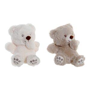 2 Peluche DKD Home Decor Branco Bege Poliéster Urso (16 x 12 x 16 cm)