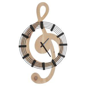 Relógio de Parede DKD Home Decor Musical Ferro Madeira MDF (35 x 4 x 60 cm)