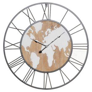 Relógio de Parede DKD Home Decor Ferro Madeira MDF Mapa do Mundo (60 x 4.5 x 60 cm)