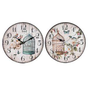Relógio de Parede DKD Home Decor Jaula Madeira MDF (2 pcs) (34 x 4 x 34 cm)