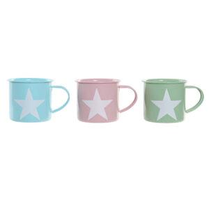 3 Canecas DKD Home Decor Azul Verde Cor de Rosa Metal (500 ml)