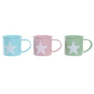 3 Canecas DKD Home Decor Azul Verde Cor de Rosa Metal (360 ml)