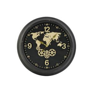 Relógio de Parede DKD Home Decor Mapa do Mundo Preto Metal Cristal Dourado (63.5 x 11 x 63.5 cm)
