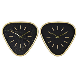 2 Relógios de Parede DKD Home Decor Preto Metal Dourado (40 x 6 x 38 cm)