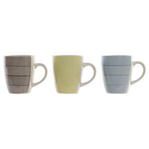3 Canecas DKD Home Decor Amarelo Azul Cinzento servies (360 ml) (3 pcs)