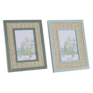 2 Molduras de Fotos DKD Home Decor Polipropileno Tropical Madeira MDF (18 x 1.5 x 23 cm)