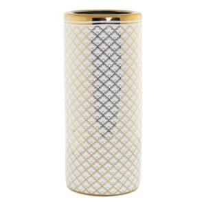 Suporte para guarda-chuvas DKD Home Decor Branco Porcelana Dourado (21 x 21 x 46.5 cm)